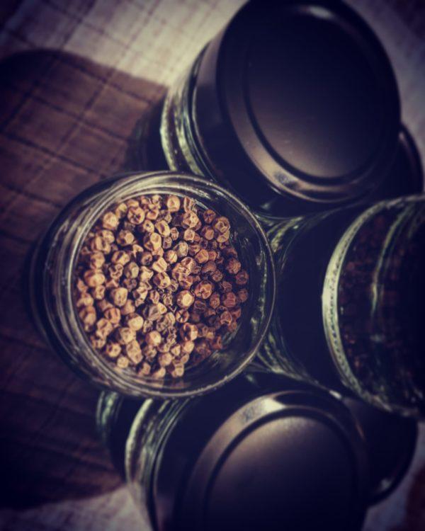 graines de poivre vert salé